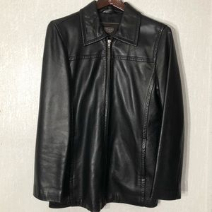 Black Coach Leather Jacket - Small